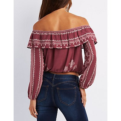 Printed Off-The-Shoulder Crop Top