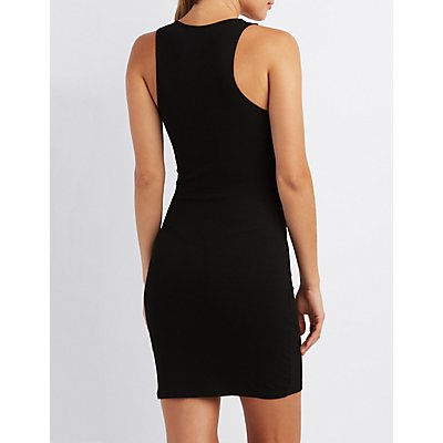 Ribbed Bodycon Caged Dress