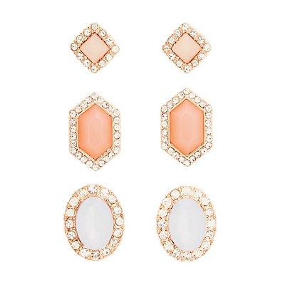 Geometric Stud Earrings - 3 Pack