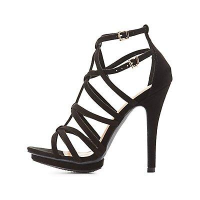Strappy Caged Platform Dress Sandals
