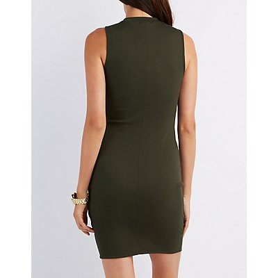 Ribbed Mock Neck Cut-Out Dress