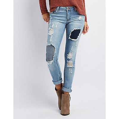 Distressed Patchwork Boyfriend Jeans