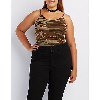 Plus Size Camo Bodysuit