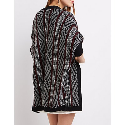 Geometric Dropped Shoulder Cardigan