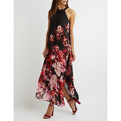 Floral Mock Neck Maxi Dress