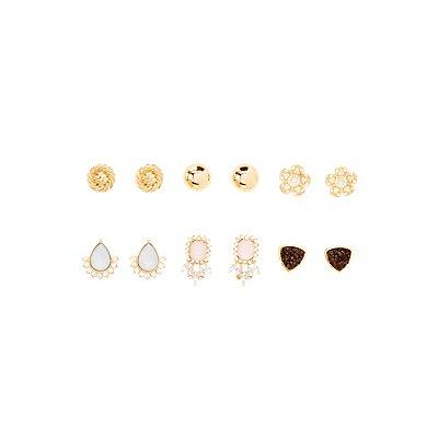Embellished Stud Earrings - 6 Pack