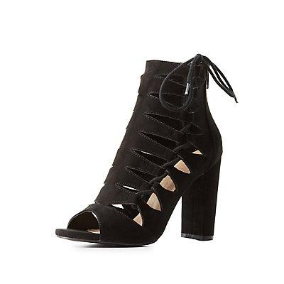 Laser Cut Lace-Up Sandals