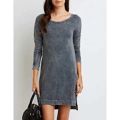 Mineral Wash Pullover Shift Dress