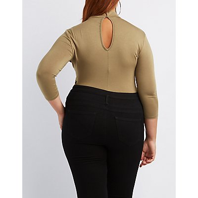 Plus Size Cut-Out Mock Neck Bodysuit