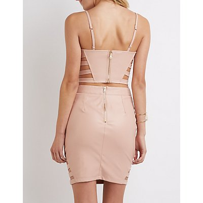 Faux Leather Caged Bustier Crop Top
