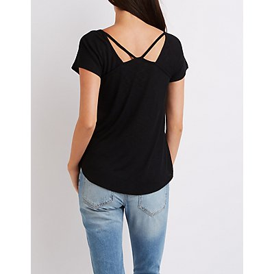 Ribbed V-Neck Cut-Out Tee