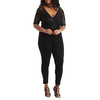Plus Size Lace Bust Jumpsuit