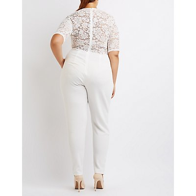 Plus Size Lace Bodice Crochet-Trim Jumpsuit