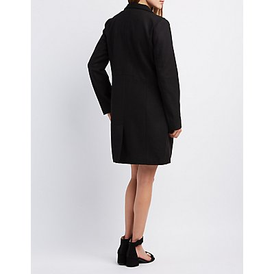 Funnel Collar Wool Blend Coat