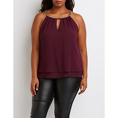 Chain Bib Neck Tank Top
