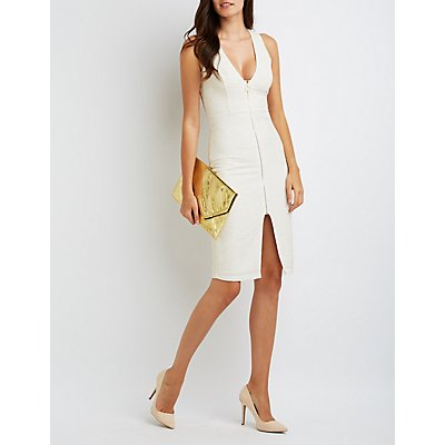 Shimmer Zip-Front Bodycon Dress
