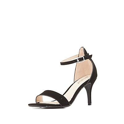 Bamboo Kitten Heel Two-Piece Dress Sandals