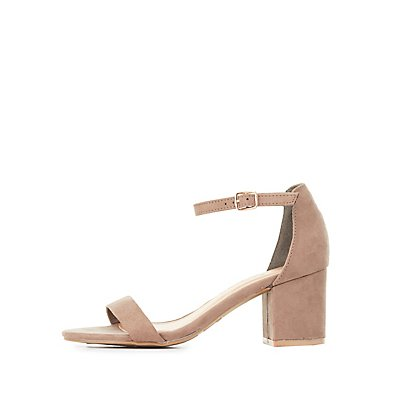 Bamboo Block Heel Two-Piece Dress Sandals