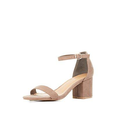 Bamboo Block Heel Two-Piece Dress Sandals