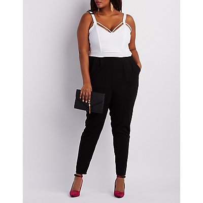 Plus Size Strappy Colorblock Jumpsuit