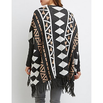 Geometric Fringe Open Cardigan