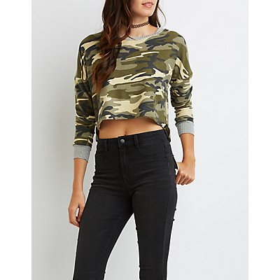 Camo Cropped French Terry Tee