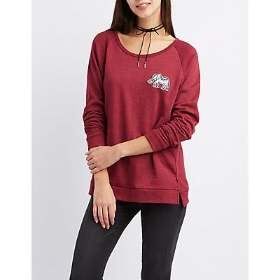 Elephant Patch Raglan Sweatshirt