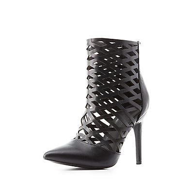 Laser Cut Pointed Toe Booties