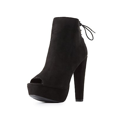Lace-Up Back Platform Booties