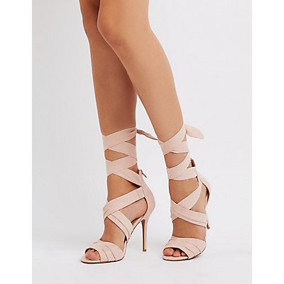 Faux Suede Ankle Wrap Dress Sandals