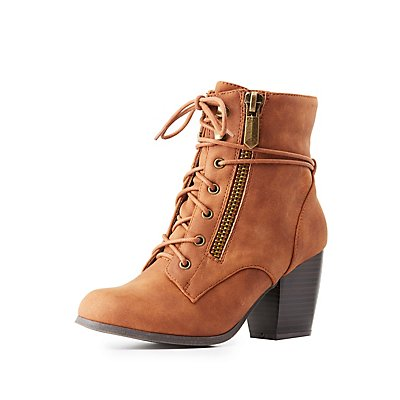 Lace-Up Heeled Combat Booties