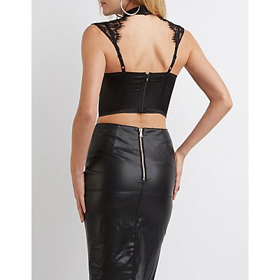 Lace-Trim Caged Mock Neck Bustier Top