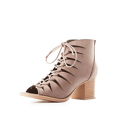 Lace-Up Laser Cut Sandals