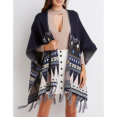Geometric Fringed Poncho Cardigan