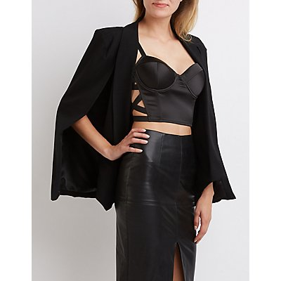Satin Lattice-Trim Bustier Crop Top