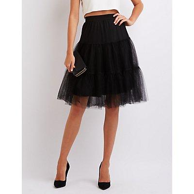 Tiered Tulle Full Midi Skirt