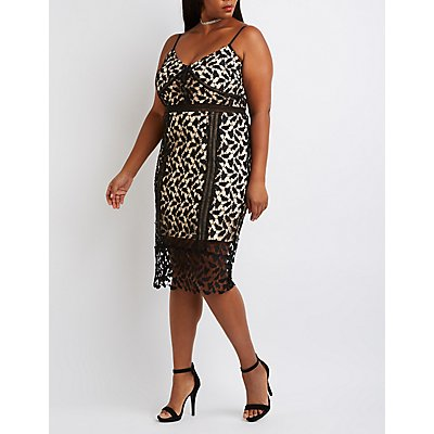 Plus Size Crochet Lace Midi Dress