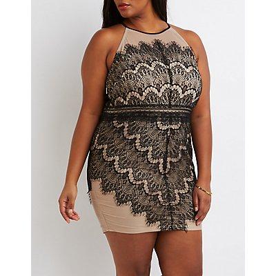 Plus Size Lace Bib Neck Bodycon Dress