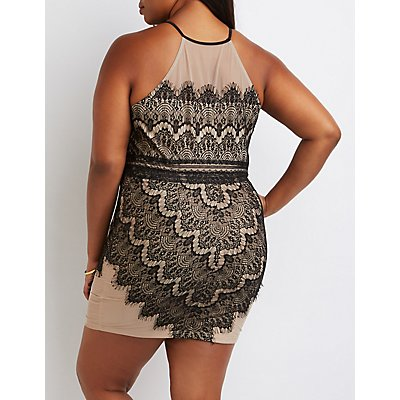 Plus Size Lace Bib Neck Bodycon Dress