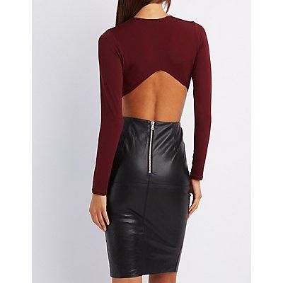 Surplice Open Back Bodysuit