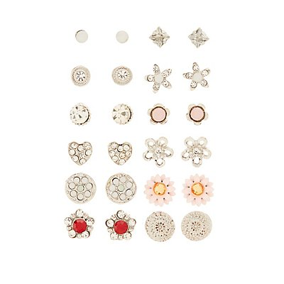 Floral & Embellished Stud Earrings - 12 Pack