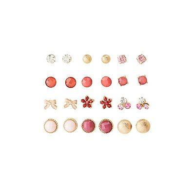 Girly Stud Earrings - 12 Pack