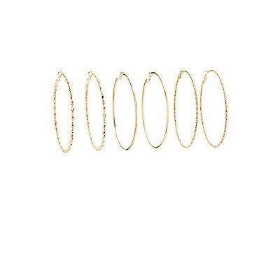 Textured Hoop Earrings - 3 Pack