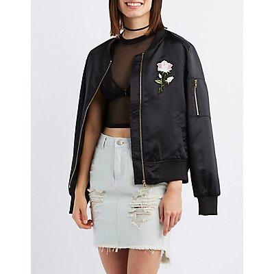 Satin Embroidered Bomber Jacket