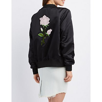 Satin Embroidered Bomber Jacket