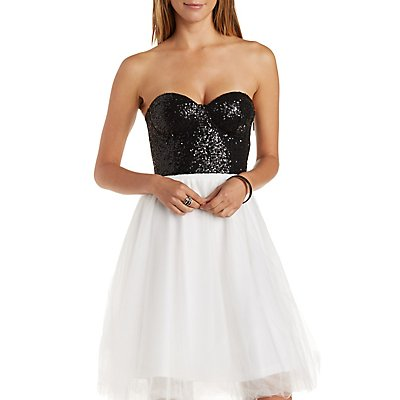 Sparkling Sequined Strapless Bustier