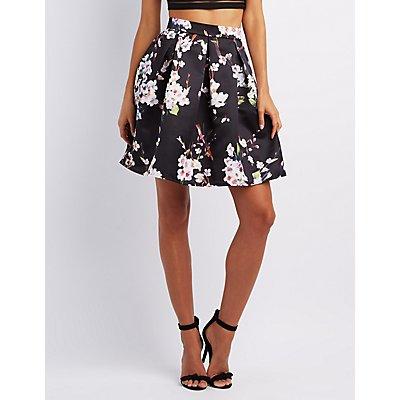 Floral Full Midi Skirt
