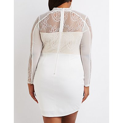 Plus Size Lace & Crochet Bodycon Dress