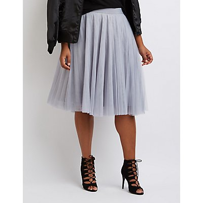 Plus Size Tulle Full Midi Skirt