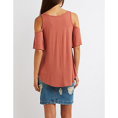Scoop Neck Cold Shoulder Top